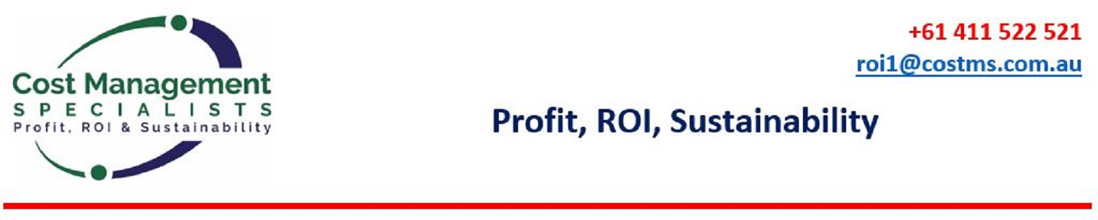 Cost Management Specialists - Profit, ROI, Sustainability